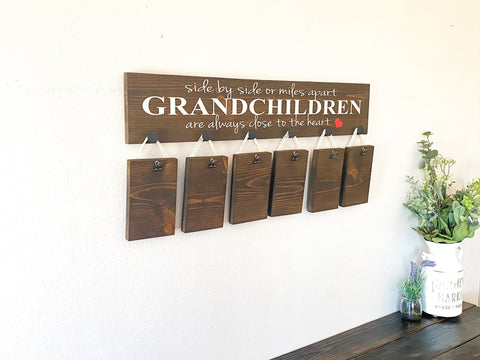 Side by side or miles apart sign / Grandchildren are close to the heart sign / Custom Grandparent gift / Picture sign for Grandparents
