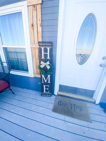 Rustic Welcome to our Home / Wood home door sign / Personalized wooden front door sign / Home sign with wreath / Large home wreath sign