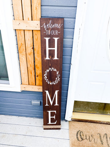 Welcome to our home wood sign / Front door sign / Home front door sign / Welcome door sign / Home sign with painted wreath. Home wood sign