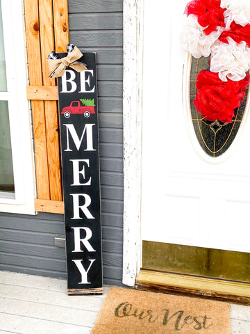 Rustic Black Farmhouse Be Merry Christmas sign with buffalo plaid bow and burlap bow porch / door sign. Large Be Merry front door wood sign