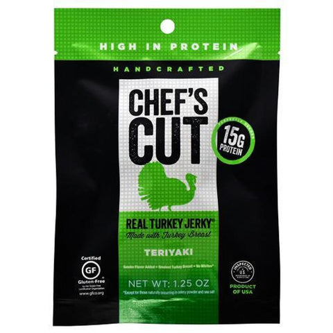 Chefs Cut Real Jerky Real Turkey Jerky Teriyaki - Gluten Free - Teriyaki / 1.25 oz - Snacks / Foods