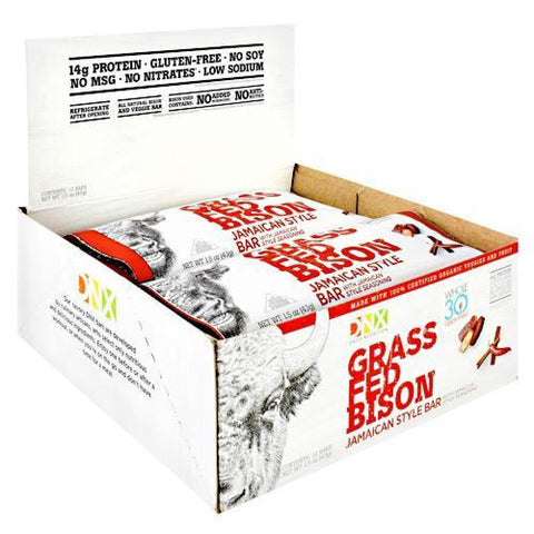 DNX Bars Grass Fed Bison Bar Jamaican Style - Gluten Free - Jamaican Style / 12 ea - Bars