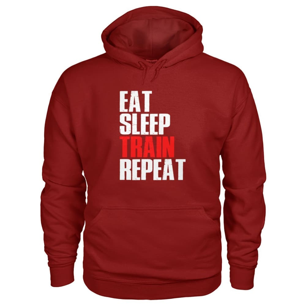Eat Sleep Train Repeat Hoodie - Cardinal Red / S - Hoodies