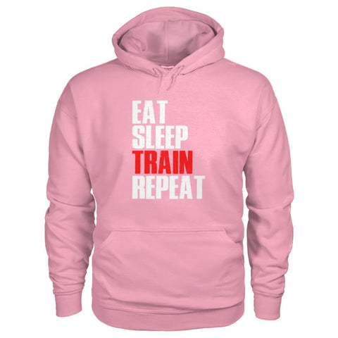 Image of Eat Sleep Train Repeat Hoodie - Classic Pink / S - Hoodies