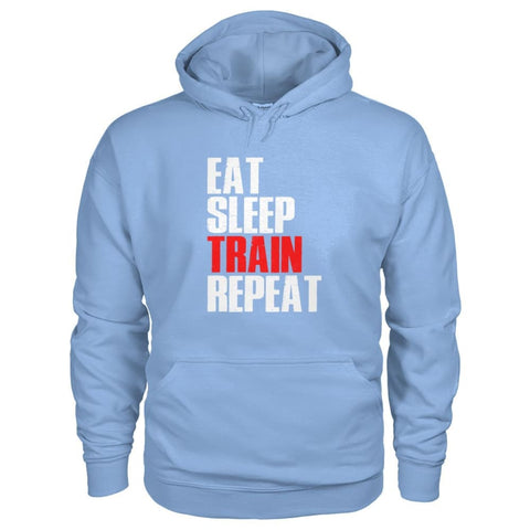 Image of Eat Sleep Train Repeat Hoodie - Light Blue / S - Hoodies