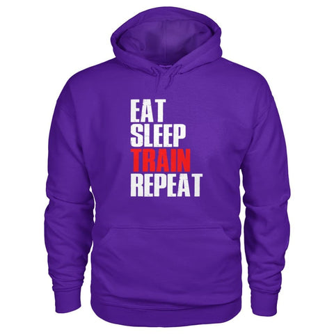 Image of Eat Sleep Train Repeat Hoodie - Purple / S - Hoodies