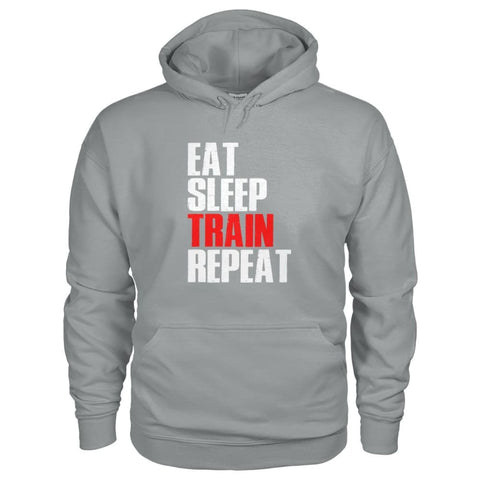 Image of Eat Sleep Train Repeat Hoodie - Sport Grey / S - Hoodies