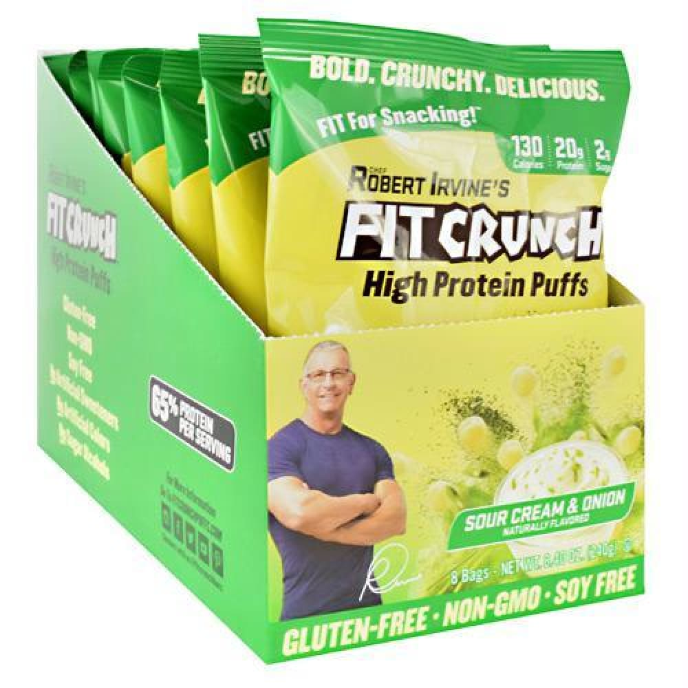Fit Crunch Bars High Protein Puffs Barbecue - Gluten Free - Sour Cream and Onion / 8 ea - Snacks / Foods