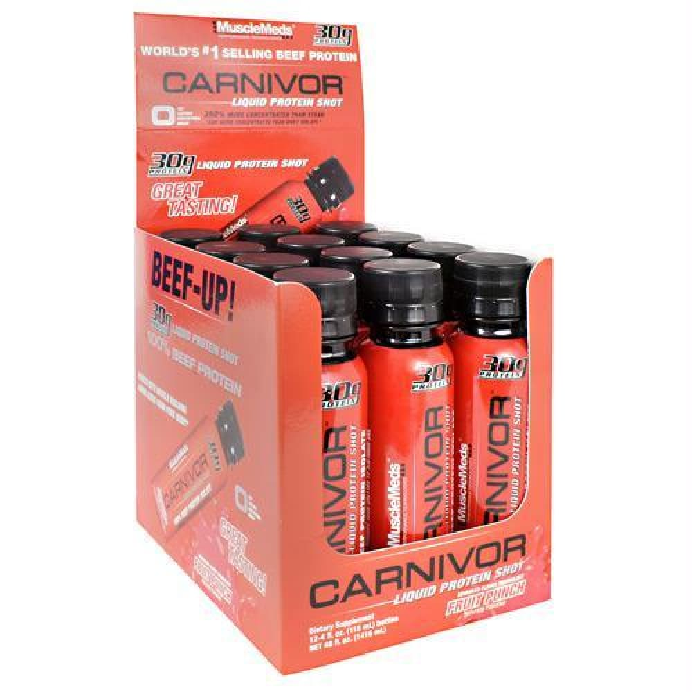Muscle Meds Carnivor Liquid Protein Shot Blue Raspberry - Fruit Punch / 12 ea - Liquid Shot
