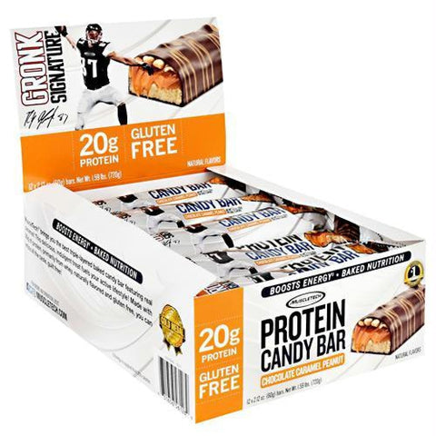 Muscletech Gronk Signature Protein Candy Bar Chocolate Deluxe - Gluten Free - Chocolate Caramel Peanut / 12 ea - Bars