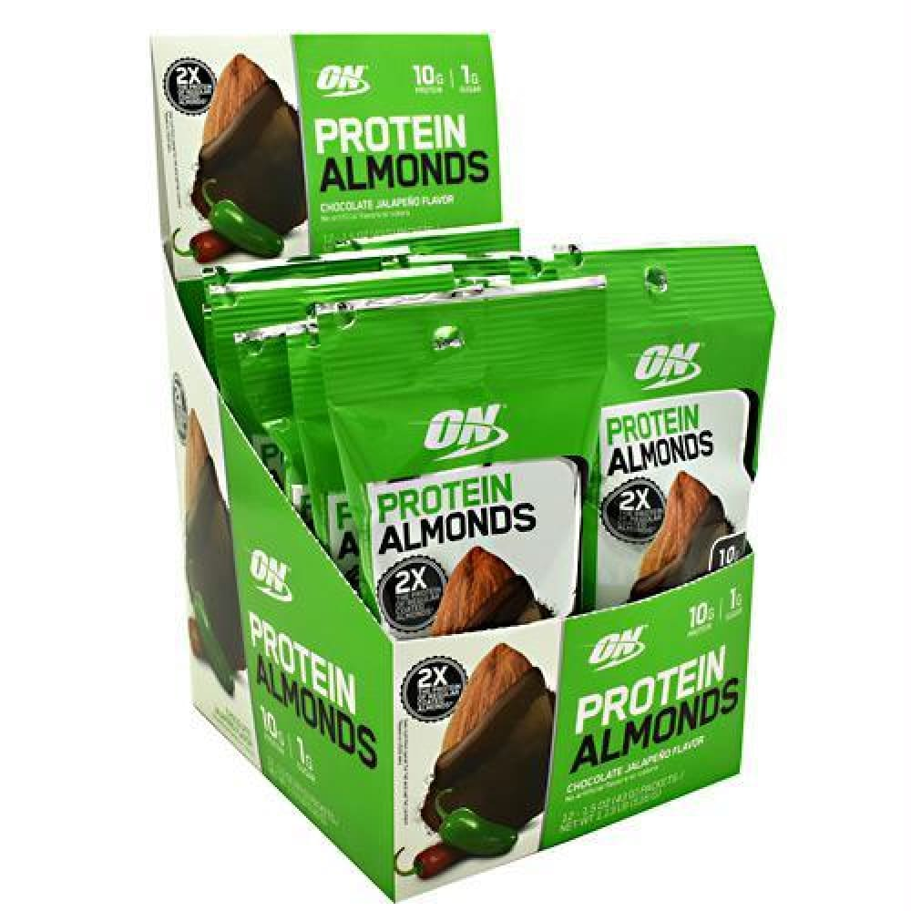 Optimum Nutrition Protein Almonds Chocolate Espresso - Chocolate Jalapeno / 12 ea - Snacks / Foods
