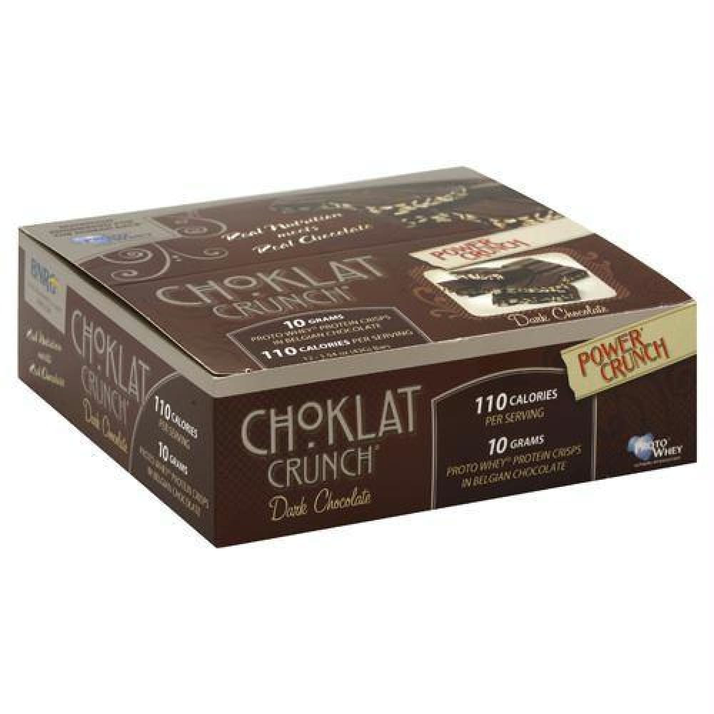 Power Crunch Choklat Crunch Protein Crisps Dark Chocolate - Gluten Free - Dark Chocolate / 12 ea - Bars
