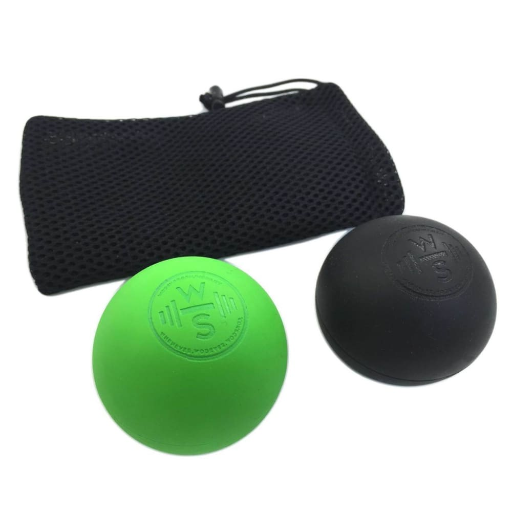 WODshop Self Care Massage Ball Kit of 2 Balls for Mobility Physical Therapy - Set of 2 - 1 Green 1 Black - Gear
