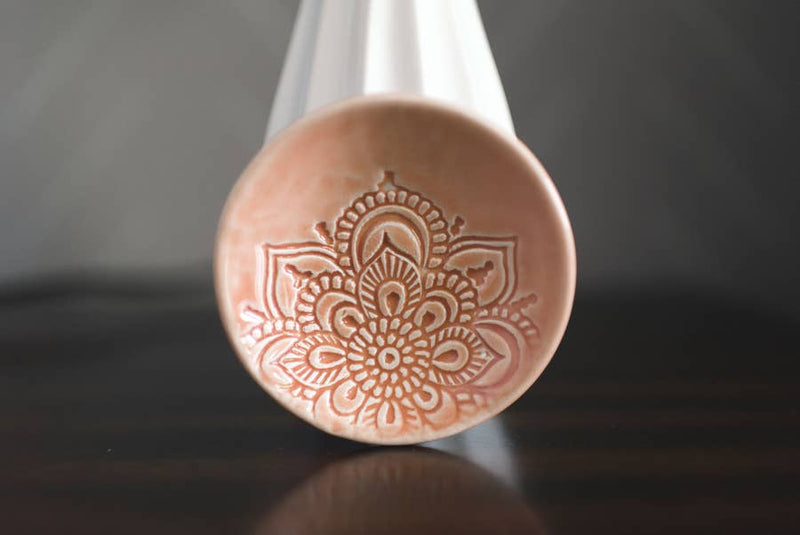Lotus Ring Dish - Peach Glaze