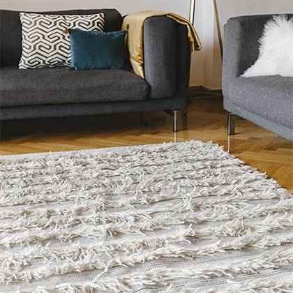 White Fringe Rug w/Navy Stitching Detail - AboutRuby.com