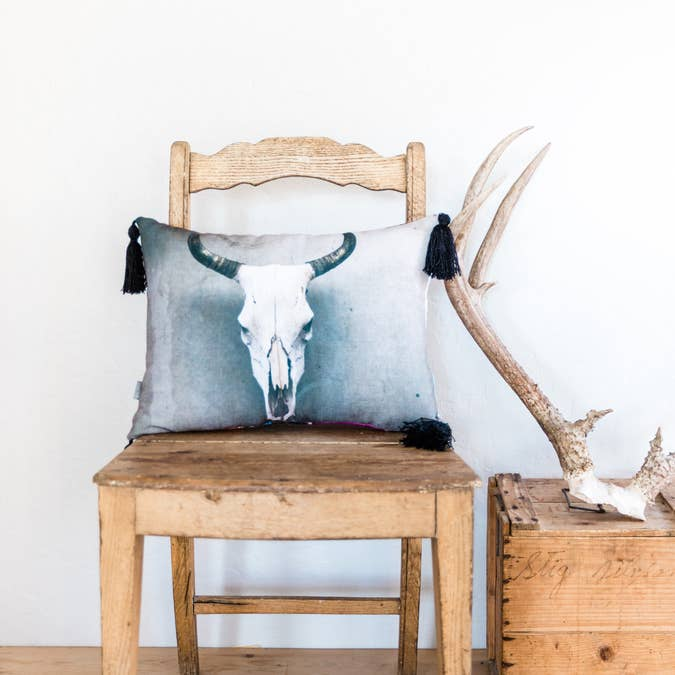 'Cow Skull' Pillow with Tassels - AboutRuby.com