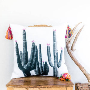 Saguaro Cactus Pillow with Embroidered Flowers and Tassels - AboutRuby.com