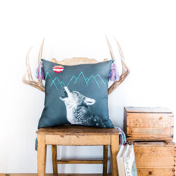 Coyote and La Luna Southwestern Throw Pillow - AboutRuby.com