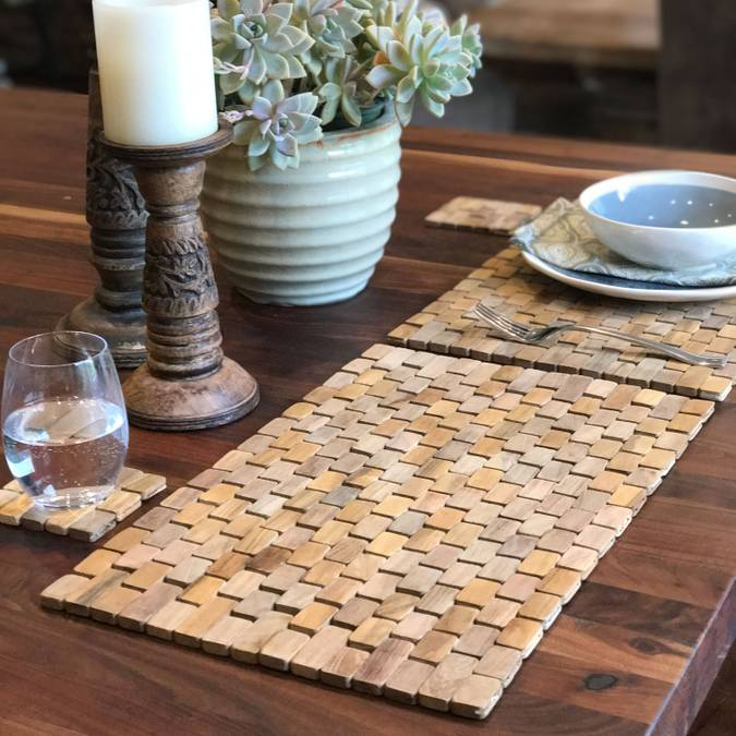 Natural Teak Placemat - Set of Two - AboutRuby.com
