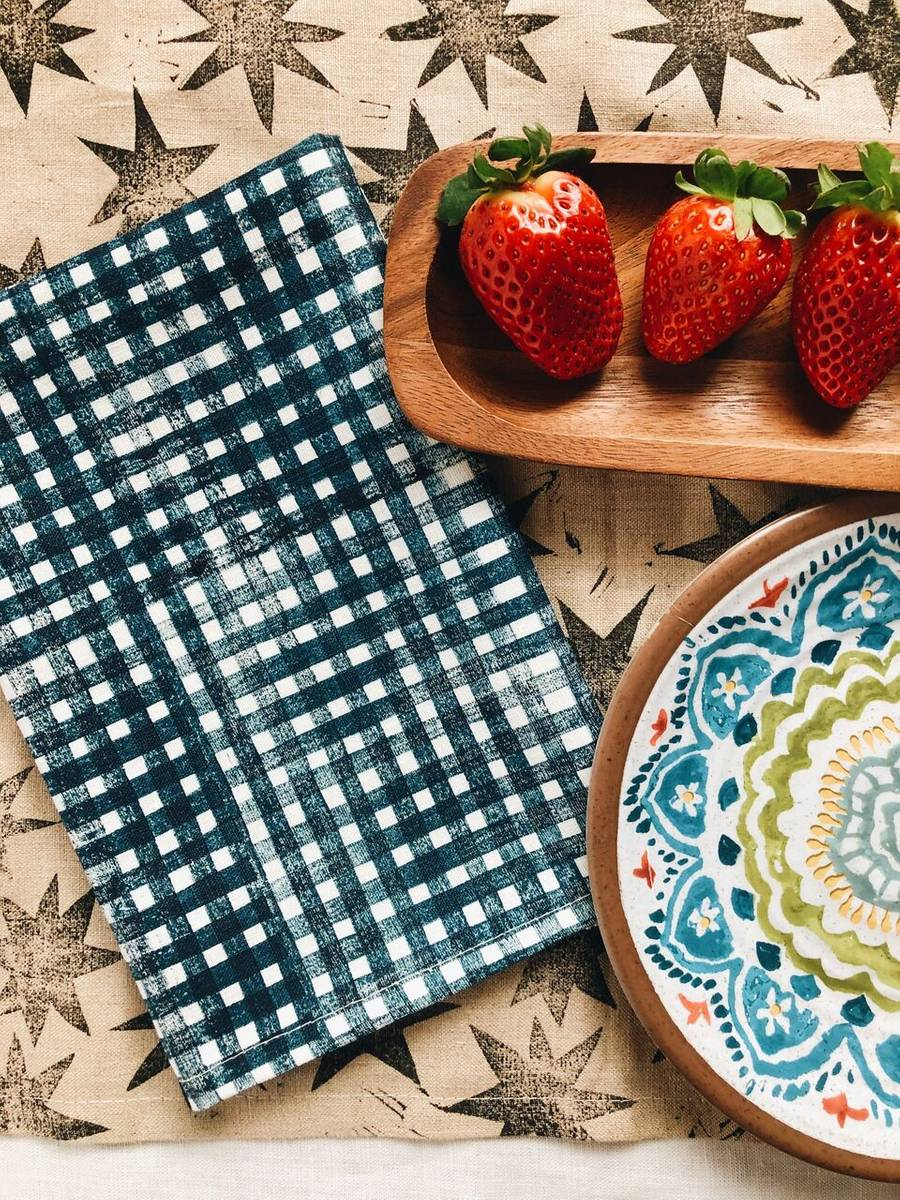 Blue Gingham Napkins - Set of 4 - AboutRuby.com
