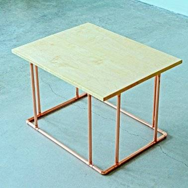 Copper and Wood Minimalist Table - AboutRuby.com