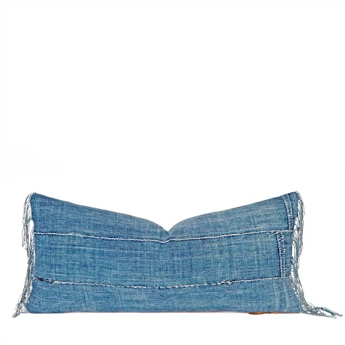 """Blue Jean"" Lumbar Pillow w/ Fringe - AboutRuby.com"
