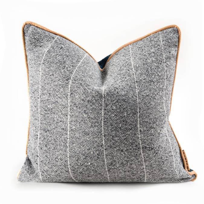 Grey Wool & Leather Pillow - AboutRuby.com