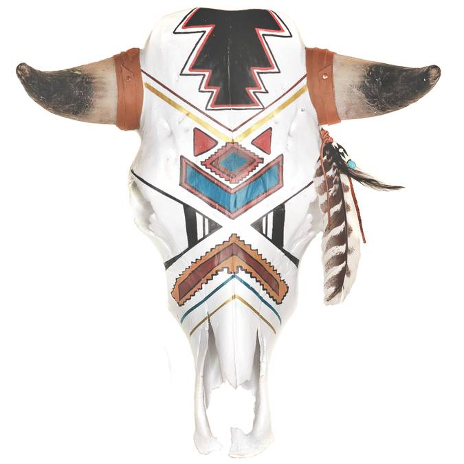"""Hunter"" Hand Painted Cow Skull - AboutRuby.com"