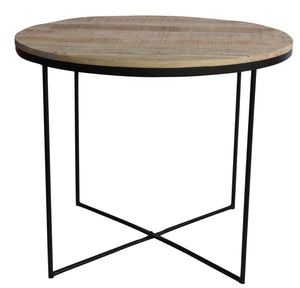 Mango Wood & Iron Round Table ~ Dia 35.5 in - AboutRuby.com