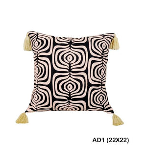 Hand-Embroidered Cotton Tassel Pillow w/ORGANIC Insert - 22x22 - AboutRuby.com