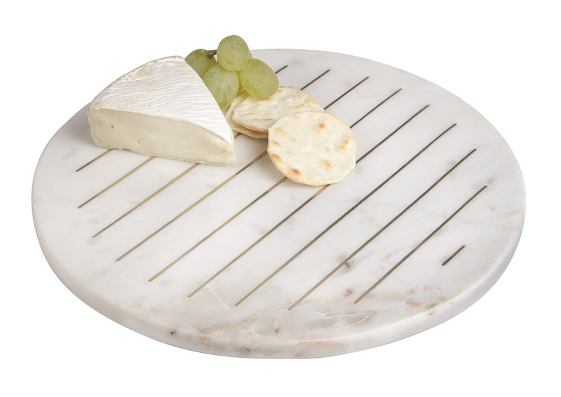 "Marble Round Cutting Board W/ Brass Inlay 12"" - AboutRuby.com"
