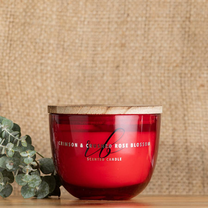 Crimson & Crushed Rose Blossom Candle