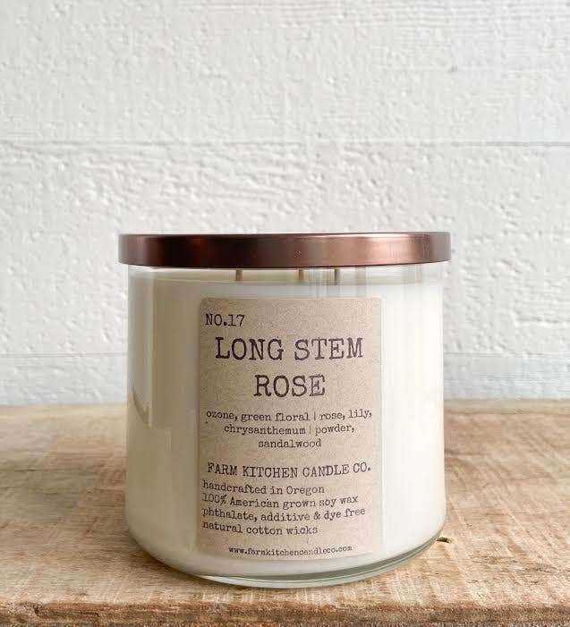 Long Stem Rose Soy Candle - 17 oz.