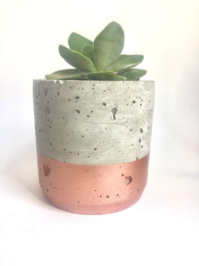 Concrete / Rose Gold Dipped Pot - AboutRuby.com