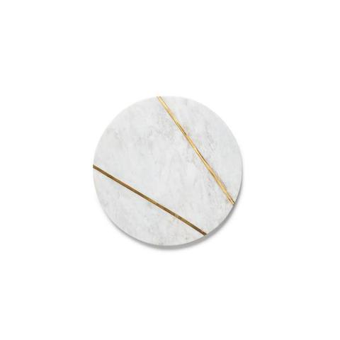 Round Marble Serving Plate with Brass Inlay - AboutRuby.com