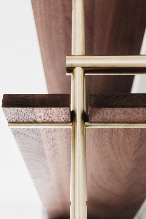 Sapele Wood Shelves with Brass Rails (1 Section) - AboutRuby.com
