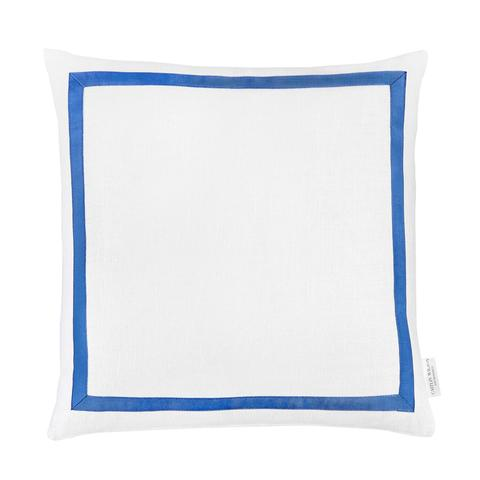 White Linen with Blue Grosgrain Pillow - AboutRuby.com