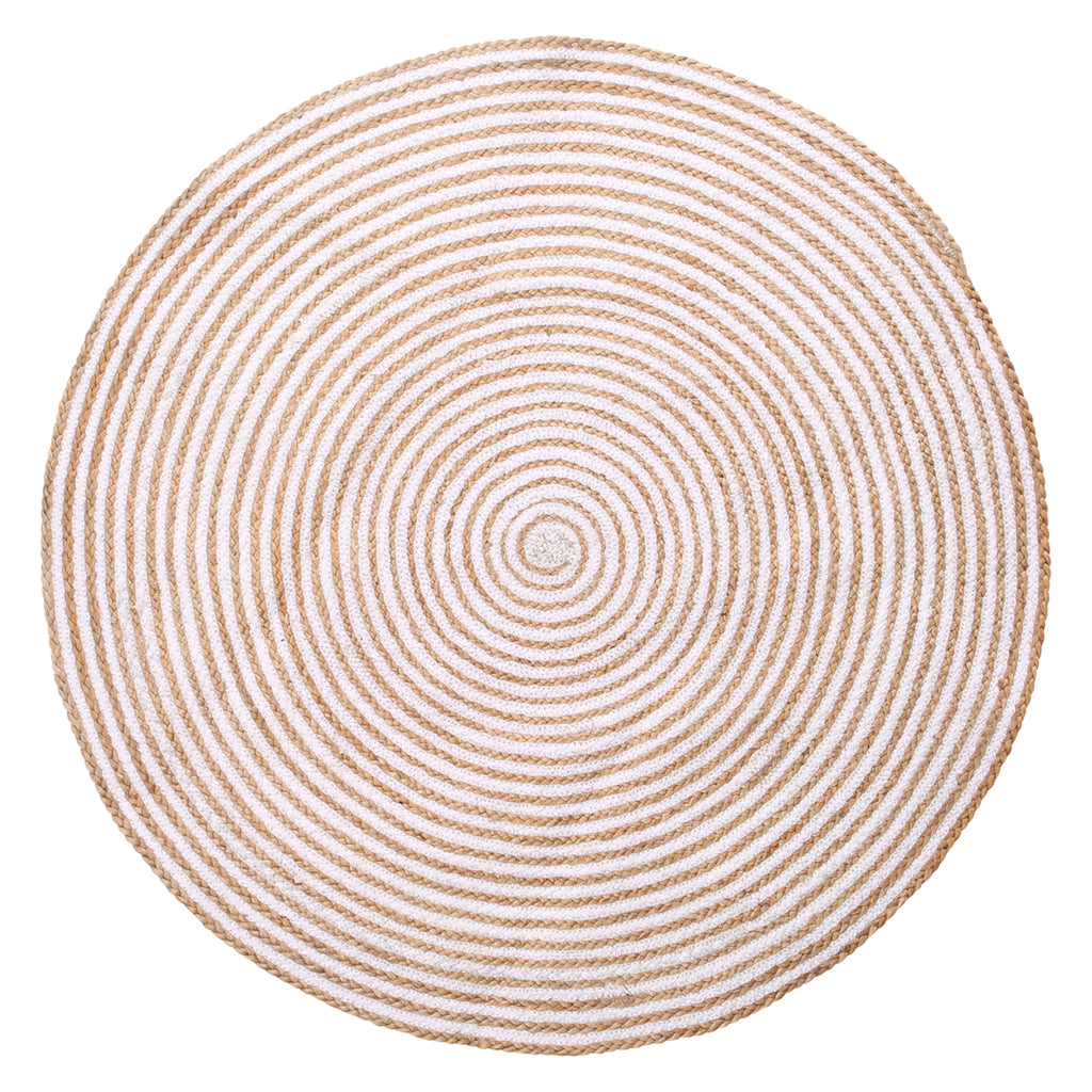 Lg. Jute / Cotton Hanoi Round Carpet - Natural Brown - AboutRuby.com
