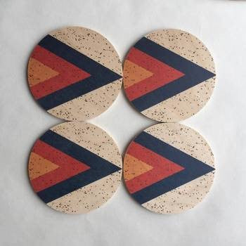 Arrow Printed Wood Coasters - 4pc set - AboutRuby.com