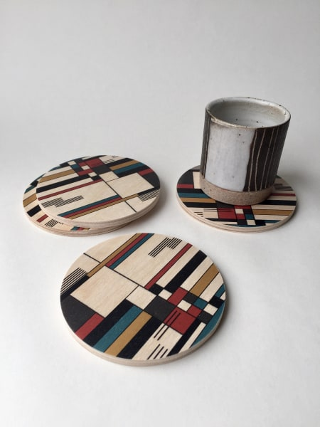 Bauhaus Printed Wood Coasters - 4pc set - AboutRuby.com