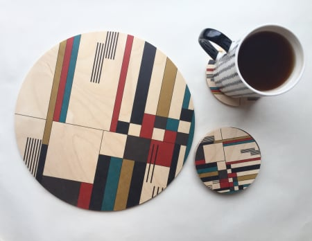 Bauhaus Printed Wood Trivet / Giant Coaster - AboutRuby.com