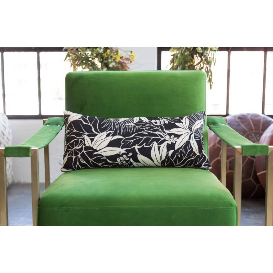 "Boho Tropics | B&W ""Moana"" Tropical Lumbar Pillow - AboutRuby.com"