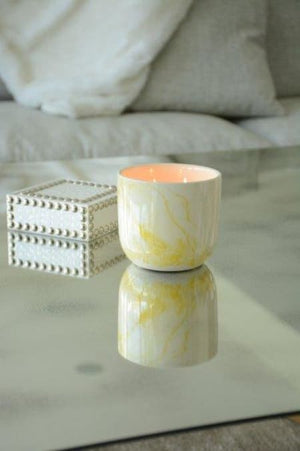 Painted Marble Yellow Candle - AboutRuby.com