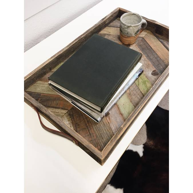 Chevron Tea Tray made of Reclaimed Wood - AboutRuby.com