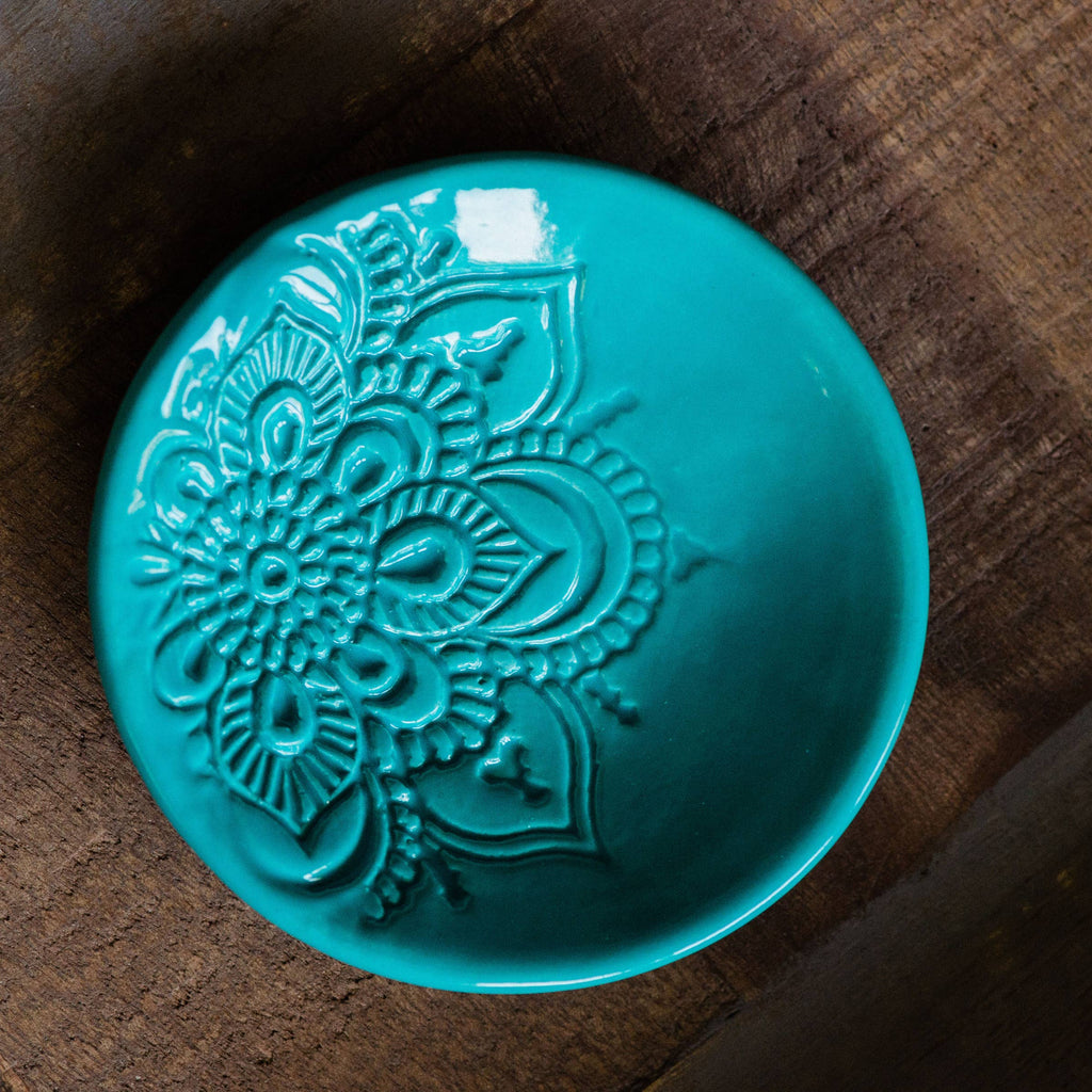 Lotus Ring Dish - Turquoise Glaze - AboutRuby.com