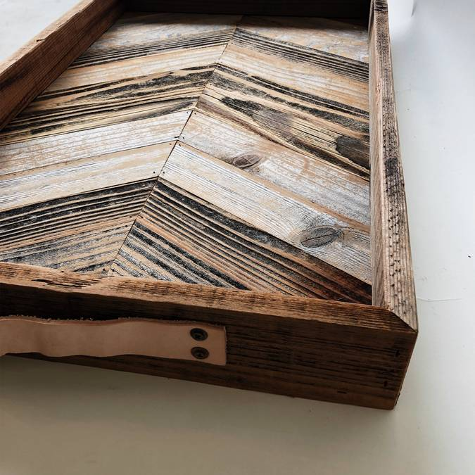 Chevron Breakfast Tray made of Reclaimed Wood - AboutRuby.com