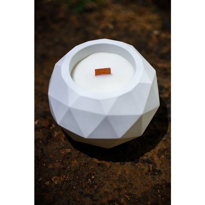 "Geodesic White Bamboo Soy Candle - 4"" x 3"" - AboutRuby.com"