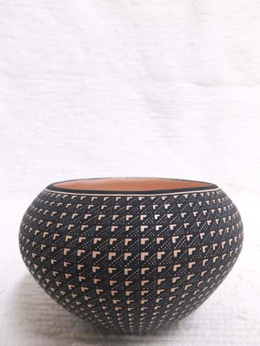 "Native American Made Acoma Handbuilt Pot - 3 x 4.75"" - AboutRuby.com"