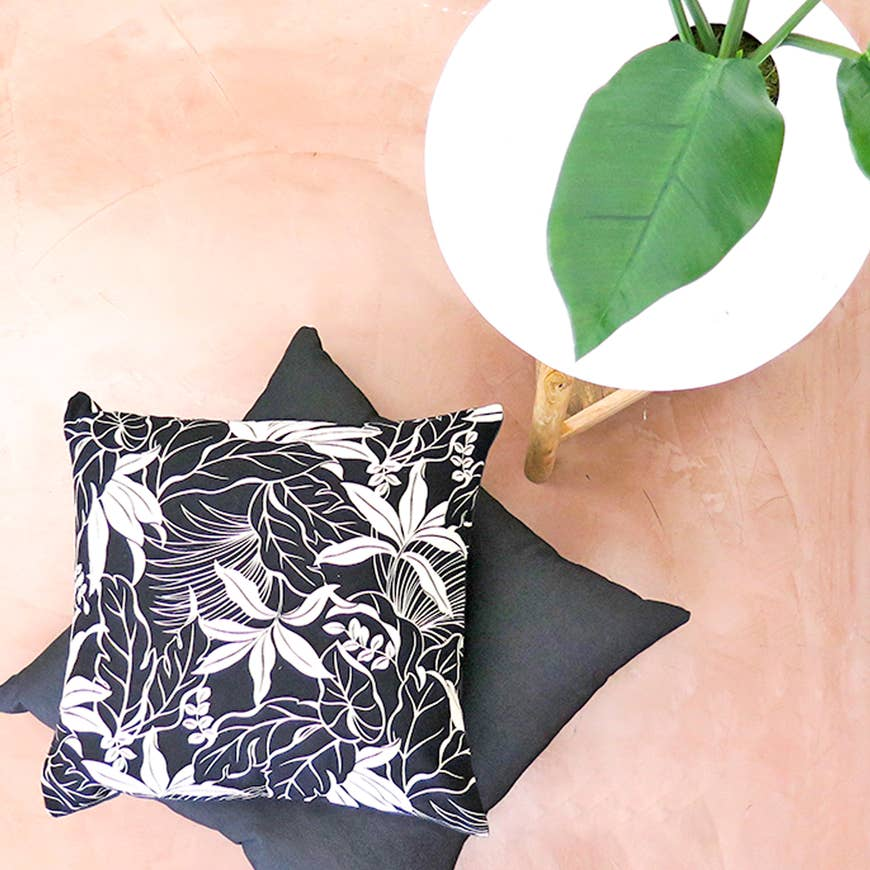 "Boho Tropics | B&W ""Moana"" Tropical Pillow - AboutRuby.com"
