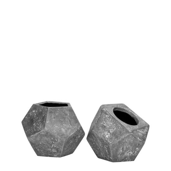 Metro Oblique Vases Set of 2 in Ash - AboutRuby.com